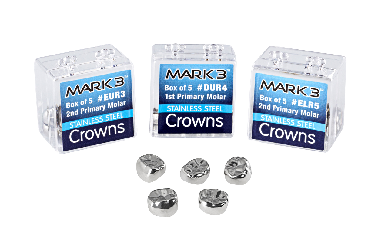 Primary Molar-Stainless Steel Crowns-5/pk-Mark3-Dental Supplies