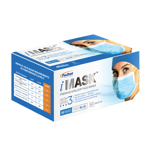 iMask™ Premium Ear-Loop Face Masks 50/bx ASTM Level 3 - Pacdent