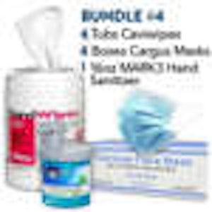 PPE Bundle - Caviwipes (6 can) and Earloop Masks (6 box/50 masks) - (1 bottle) MARK3 Sanitizer 16oz - Noble Dental Supplies