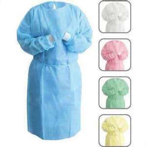 Non-Woven Isolation Gowns with Knit Cuffs Blue 10/bag - Unipack
